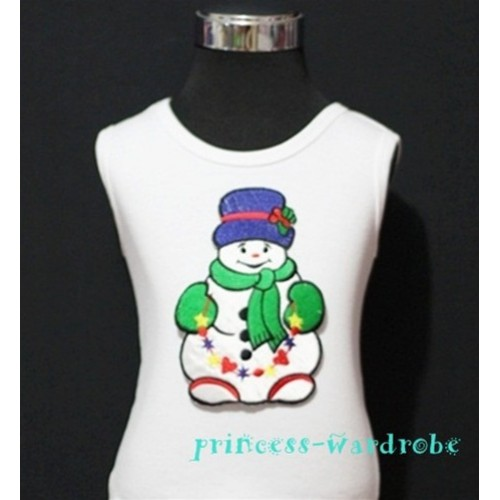 Christmas Snowman with Scarf White Tank Top TW57