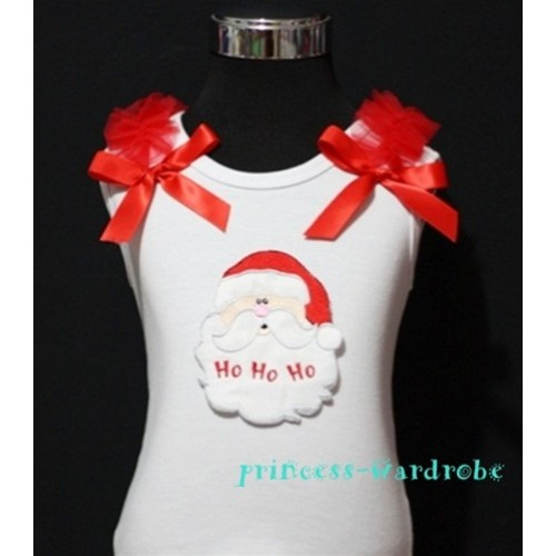Christmas Santa Claus White Tank Top with Red Ribbon and Ruffles TW62