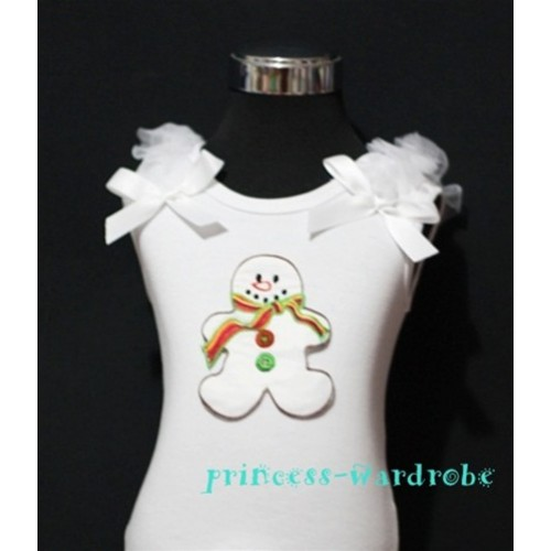 Christmas Gingerbread Snowman White Tank Top with White Ribbon and Ruffles TW72