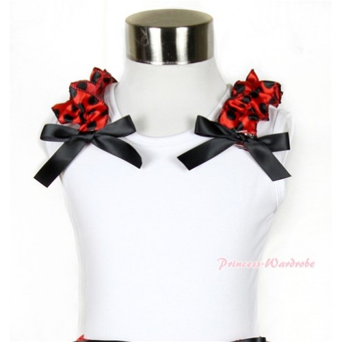 Halloween White Tank Top with Beetle Red Black Polka Dots Ruffles and Black Bow TB483
