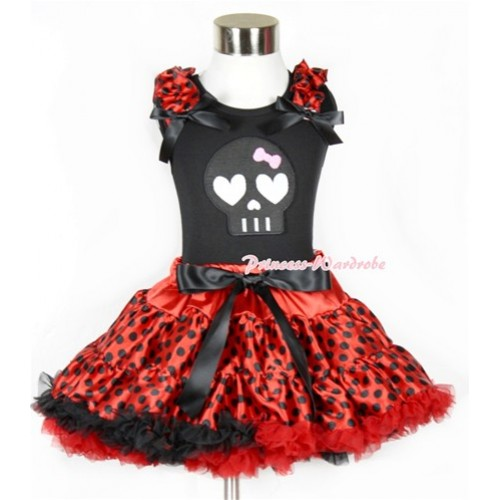 Halloween Black Tank Top with Black Skeleton Print with Beetle Red Black Dots Ruffles & Black Bow & Beetle Red Black Dots Pettiskirt MW311
