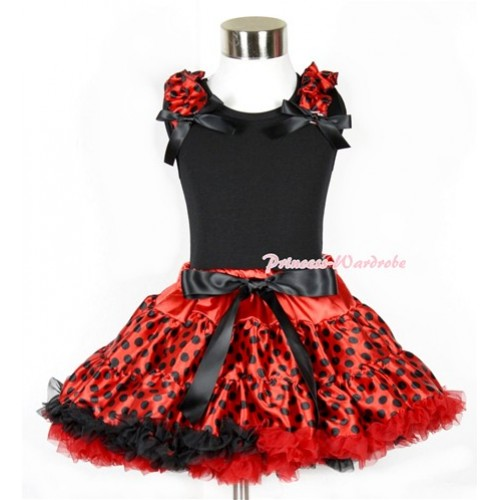 Halloween Black Tank Top With Beetle Red Black Dots Ruffles & Black Bows With Beetle Red Black Dots Pettiskirt MW312