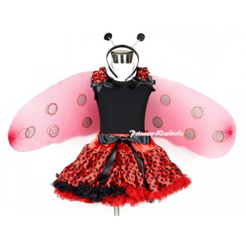 Halloween Black Tank Top With Red Black Dots Ruffles & Black Bows With Red Black Dots Pettiskirt With Beetle Wing &Headband 2PC Set MW313