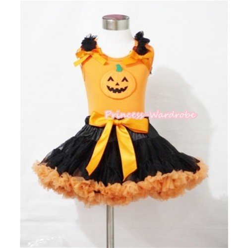 Halloween Black Orange Pettiskirt & Pumpkin Print Orange Tank Top with Black Ruffles and Orange Bows MM273