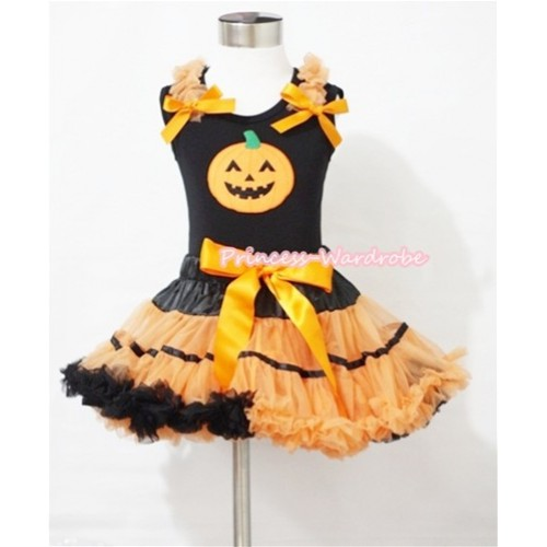 Halloween Black Orange Trim Pettiskirt & Pumpkin Print Black Tank Top with Orange Ruffles and Bows MM333