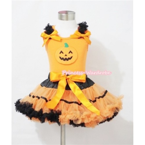 Halloween Black Orange Trim Pettiskirt & Pumpkin Print Orange Tank Top with Black Ruffles and Orange Bows MM274