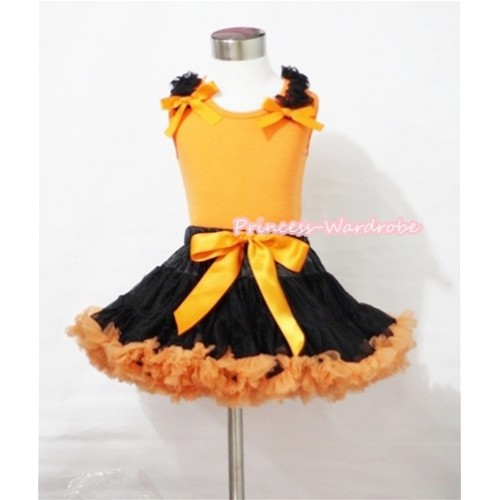 Halloween Black Orange Pettiskirt & Orange Tank Top with Black Ruffles and Orange Bows MN039