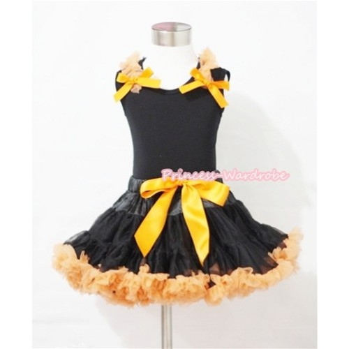 Halloween Black Orange Pettiskirt & Black Tank Top with Orange Ruffles and Bows MW075