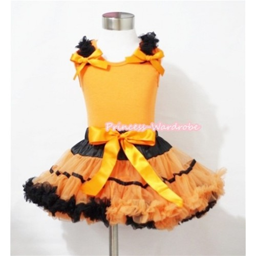 Halloween Black Orange Trim Pettiskirt & Orange Tank Top with Black Ruffles and Orange Bows MN040
