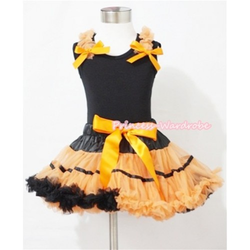 Halloween Black Orange Trim Pettiskirt & Black Tank Top with Orange Ruffles and Bows MW076