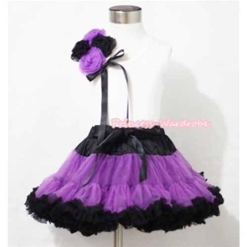 Halloween Black Dark Purple Pettiskirt with Bunch of Dark Purple Black Rosettes & Black Bow White Tank Top MG442