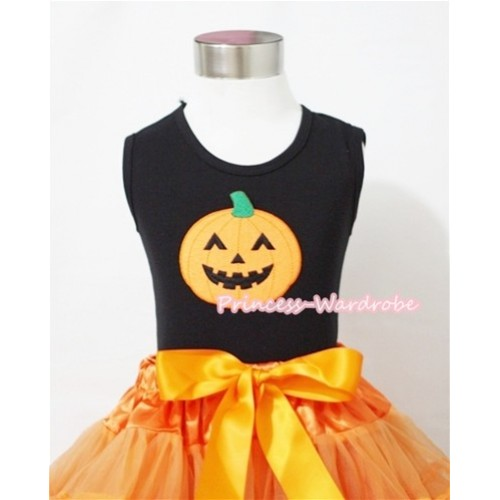 Black Tank Top with Halloween Pumpkin Print T481