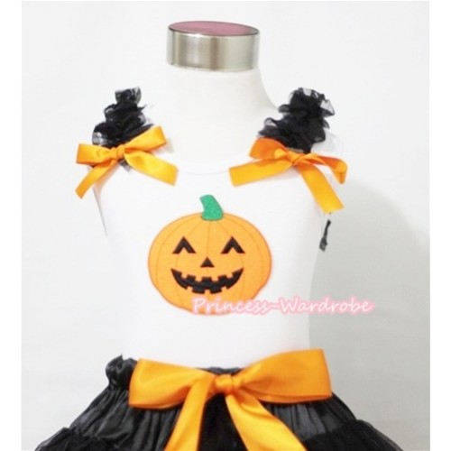 Halloween Pumpkin Print White Tank Top with Black Ruffles and Orange Bows TB183