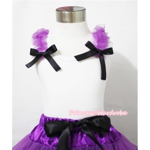 Halloween Dark Purple Ruffles and Black Bow White Tank Top T416