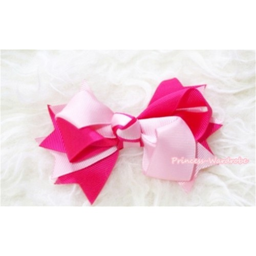 Hot Light Pink Screwed Ribbon Bow Hair Clip H82