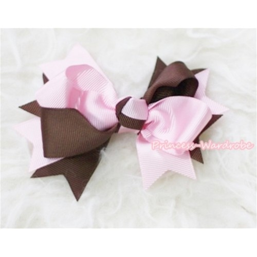 Brown Light Pink Screwed Ribbon Bow Hair Clip H83
