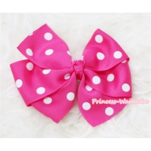 Hot Pink White Polka Dots Ribbon Bow Hair Clip H87