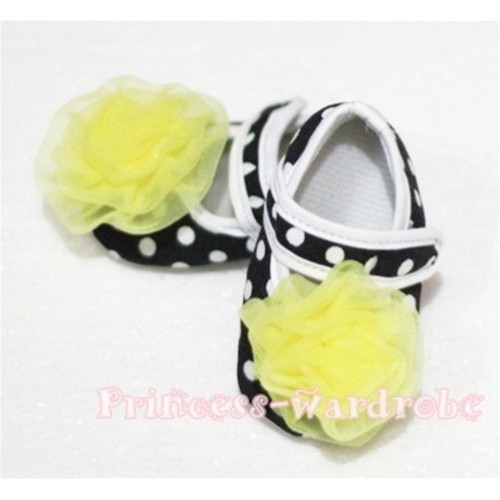 Baby Black White Poika Dot Crib Shoes with Yellow Rosettes S43