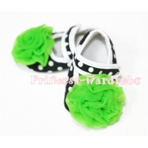 Baby Black White Poika Dot Crib Shoes with Dark Green Rosettes S45