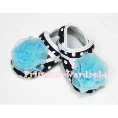 Baby Black White Poika Dot Crib Shoes with Light Blue Rosettes S46