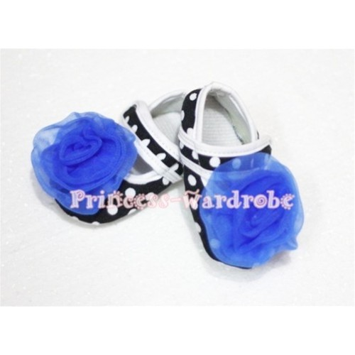 Baby Black White Poika Dot Crib Shoes with Royal Blue Rosettes S47