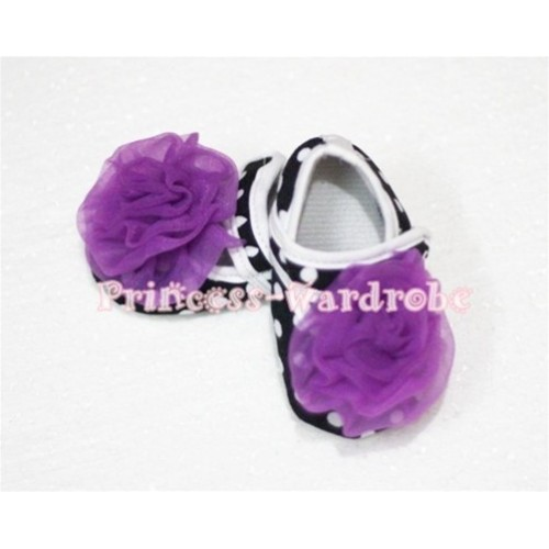 Baby Black White Poika Dot Crib Shoes with Dark Purple Rosettes S48