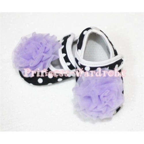 Baby Black White Poika Dot Crib Shoes with Light Purple Rosettes S49