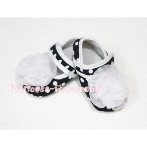Baby Black White Poika Dot Crib Shoes with White Rosettes S51