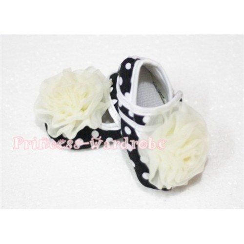 Baby Black White Poika Dot Crib Shoes with Cream White Rosettes S55