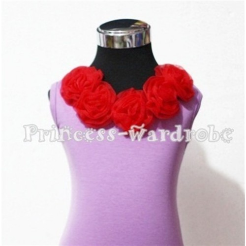 Lavender Tank Tops with Red Rosettes TN100
