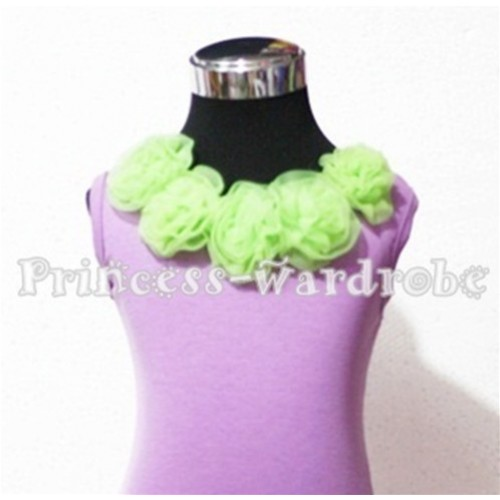 Lavender Tank Tops with Lime Green Rosettes TN103