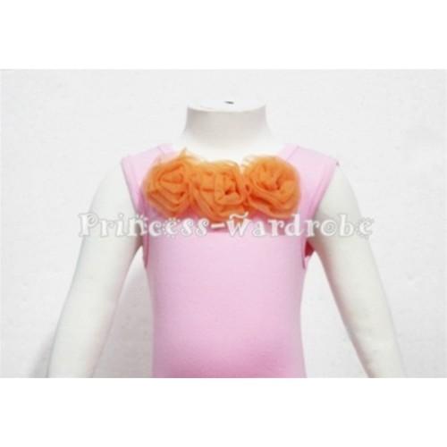 Light Pink Baby Pettitop & Orange Rosettes  NT51