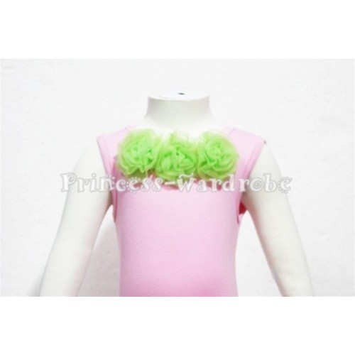 Light Pink Baby Pettitop & Lime Green Rosettes NT53