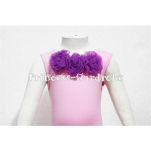 Light Pink Baby Pettitop & Dark Purple Rosettes NT56