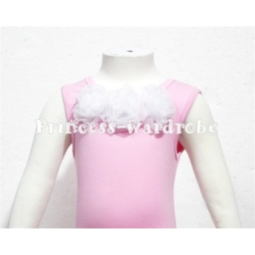 Light Pink Baby Pettitop & White Rosettes  NT59