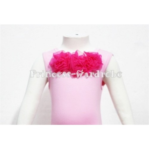 Light Pink Baby Pettitop & Hot Pink Rosettes NT63