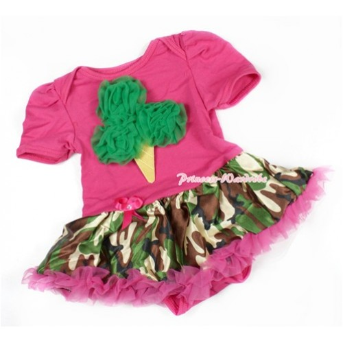 Hot Pink Baby Bodysuit Jumpsuit Hot Pink Camouflage Pettiskirt with Kelly Green Rosettes Ice Cream Print JS1409