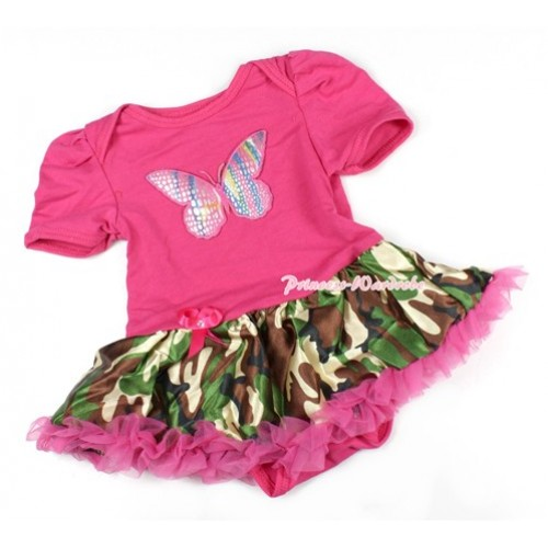 Hot Pink Baby Bodysuit Jumpsuit Hot Pink Camouflage Pettiskirt with Rainbow Butterfly Print JS1414