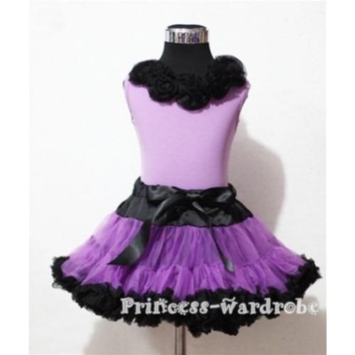 Black Dark Purple Pettiskirt with Matching Black Rosettes Purple Tank Top MN27