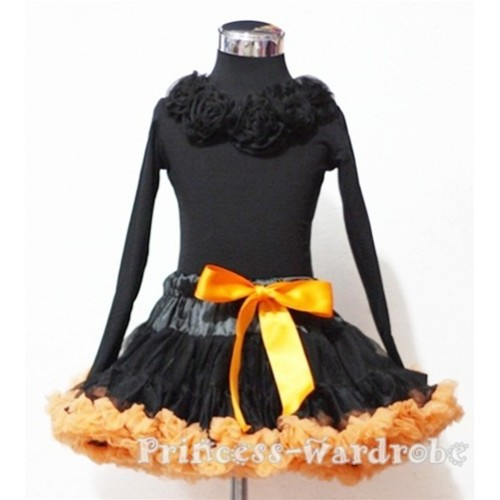 Black Orange Pettiskirt Matching Black Rosettes Black Long Sleeves Top MN43