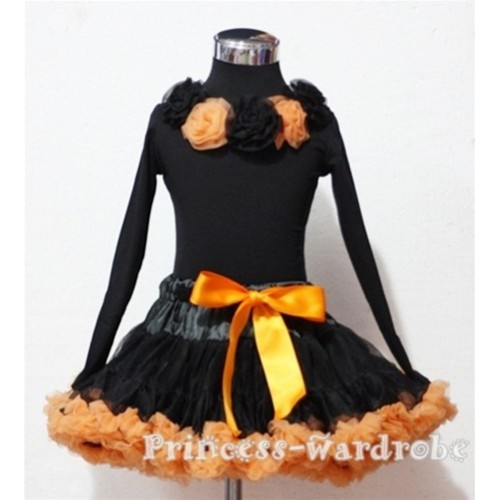 Black Orange Pettiskirt Matching Black Orange Rosettes Black Long Sleeves Top MN44