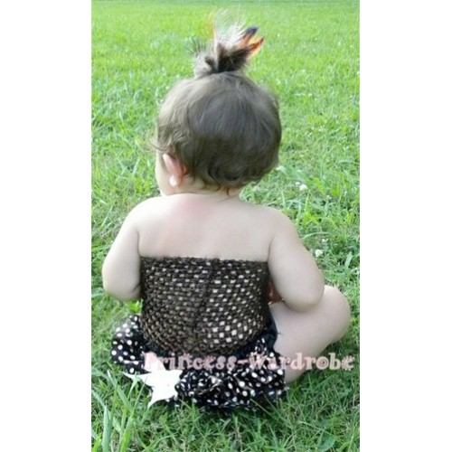 Black Crochet Tube Top, Black White Dots Bloomer CT31
