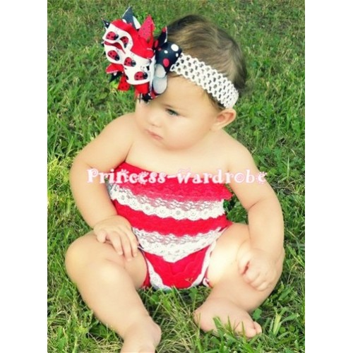 Red White Lace Ruffles Petti Rompers LR09