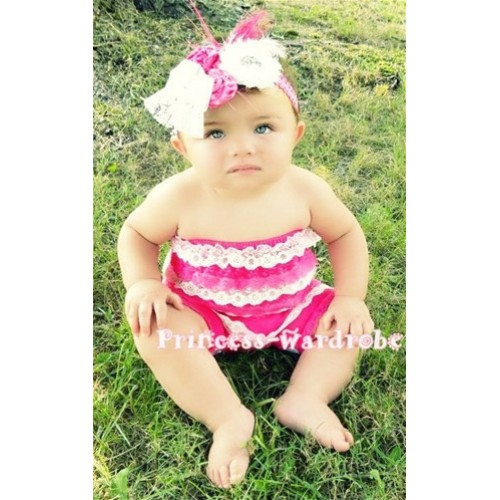 Light Pink Hot Pink Lace Ruffles Petti Rompers LR10