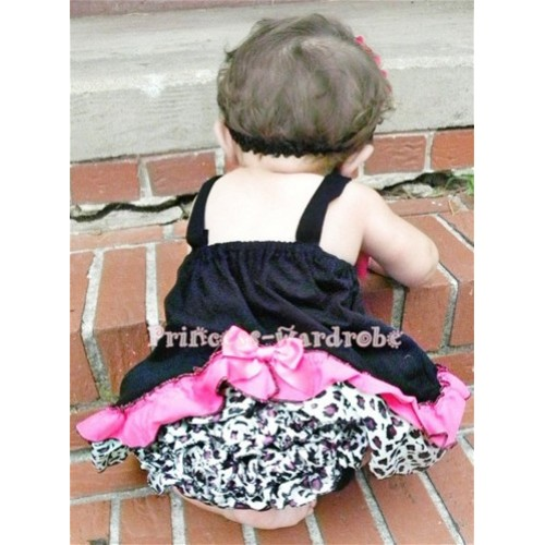 Dark Purple Leopard Black Swing Top with Hot Pink Bow with matching Dark Purple Leopard Ruffles Black Panties Bloomers SP01