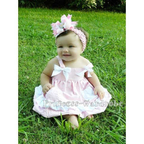 Light Pink White Swing Top with White Bow with matching White Ruffles Light Pink Panties Bloomers SP04