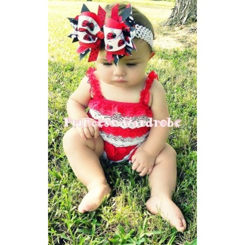 Red White Lace Ruffles Petti Rompers with Red Straps LR23