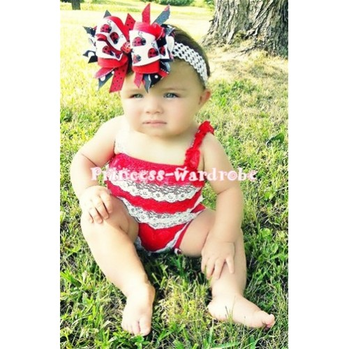 Red White Lace Ruffles Petti Rompers with Red White Straps LR25