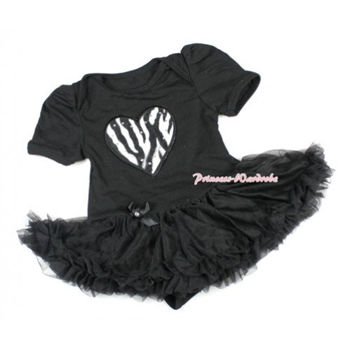 Black Baby Bodysuit Jumpsuit Black Pettiskirt with Zebra Heart Print JS1434