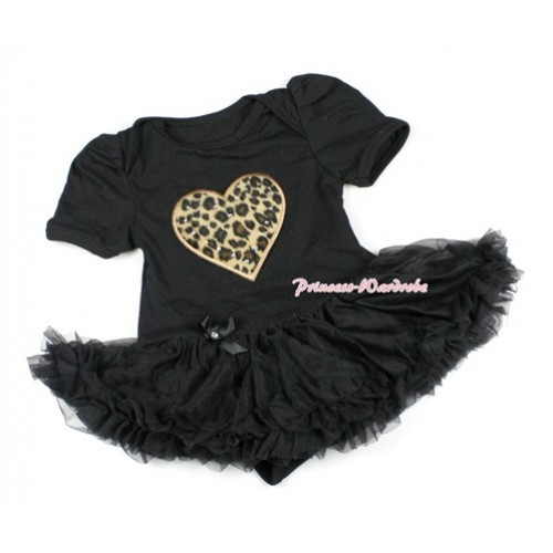 Black Baby Bodysuit Jumpsuit Black Pettiskirt with Leopard Heart Print JS1435